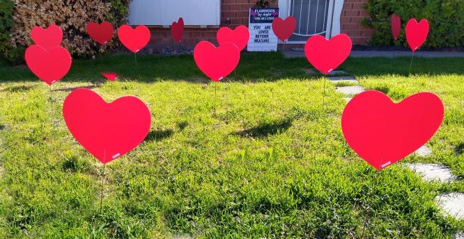 Big red hearts in the yard