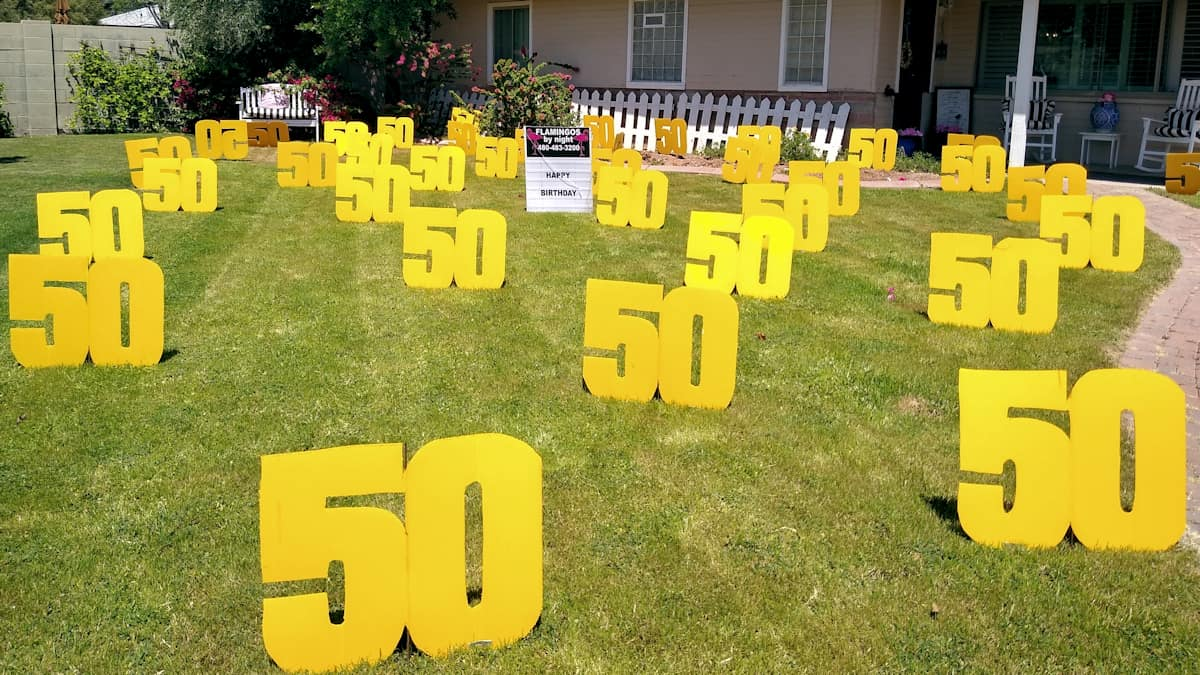 big number 50s in front grass yard for 50th birthday