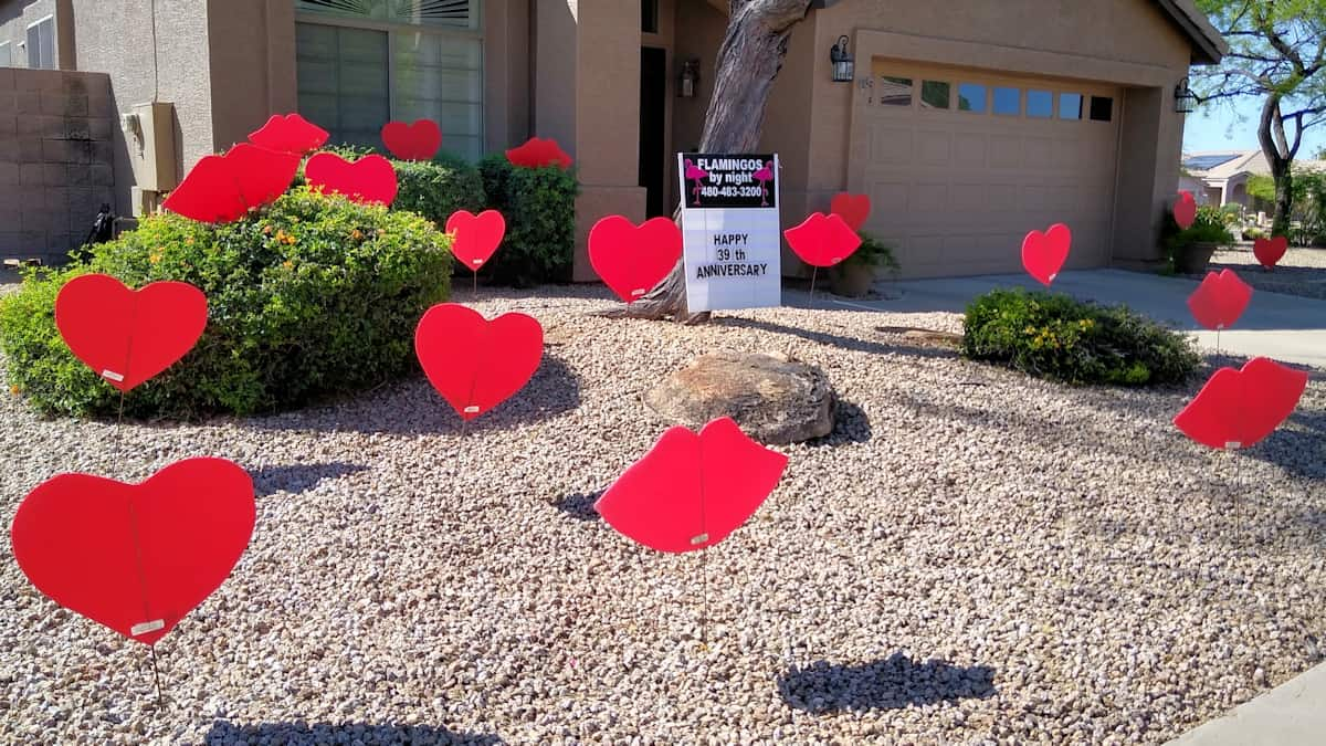 39th anniversary with hearts and lips in the front yard