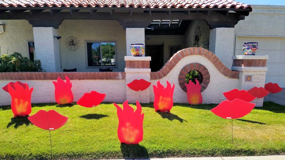 flames and kisses in the front yard to make